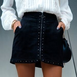 American Eagle Zip-Up Studded Skirt Black